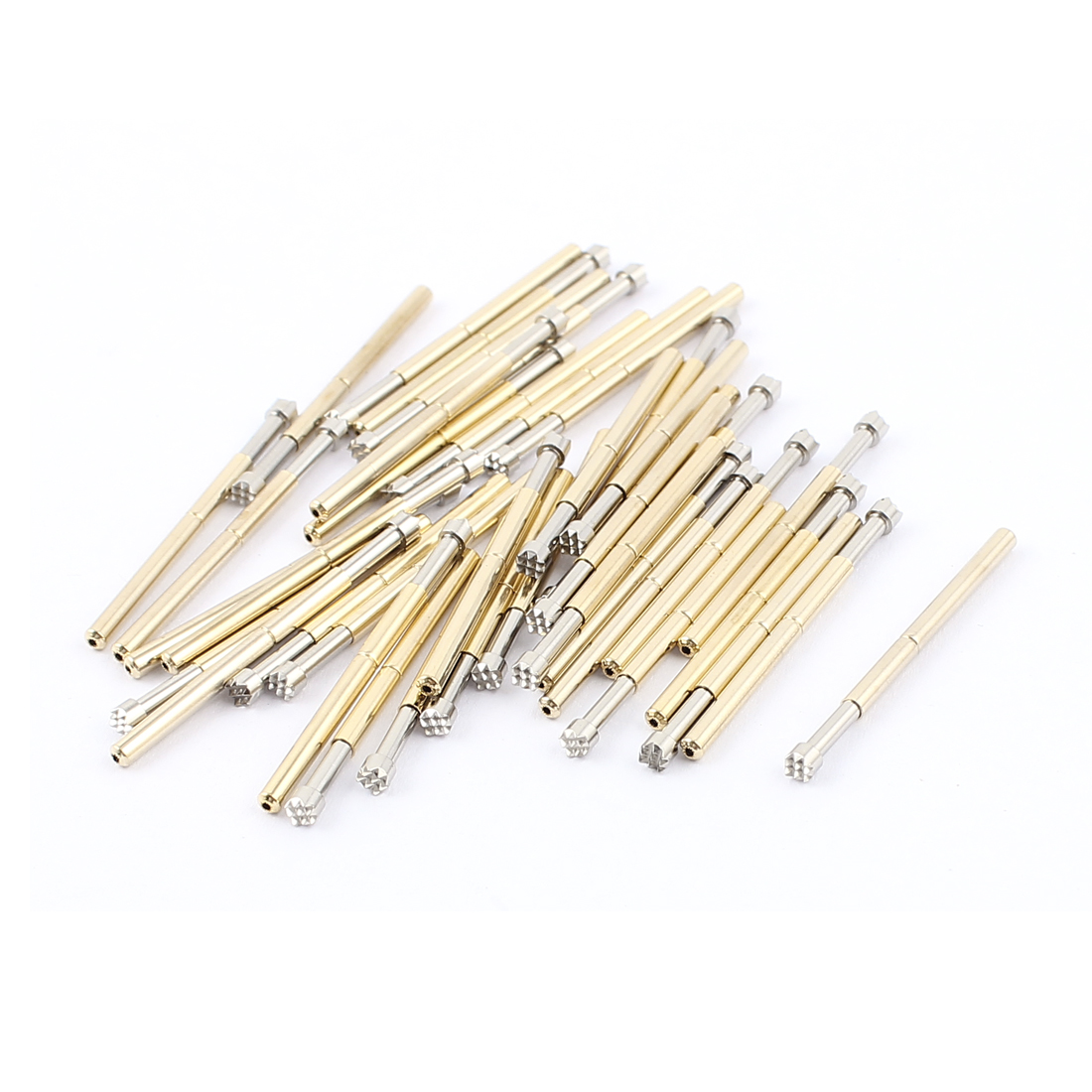 40Pcs P125H 2.5mm Dia Crown Tip Spring Test Probes Testing Pins Gold Tone 33mm for PCB Borad