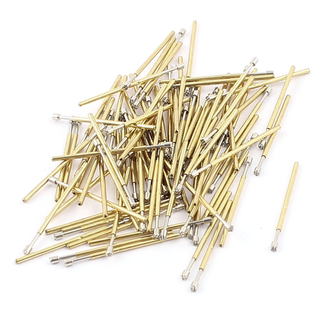 100Pcs P50H 1mm Dia Crown Tip PC Borad Spring Test Probes Testing Contact Pins Gold Tone 16.5mm