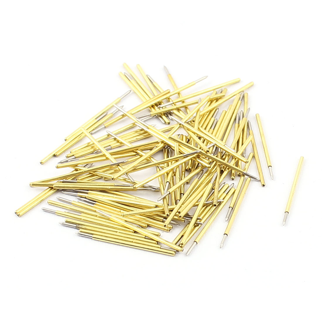 100Pcs P50B 0.5mm Dia Spear Tip PCB Borad Spring Test Probes Testing Pins Gold Tone 16mm