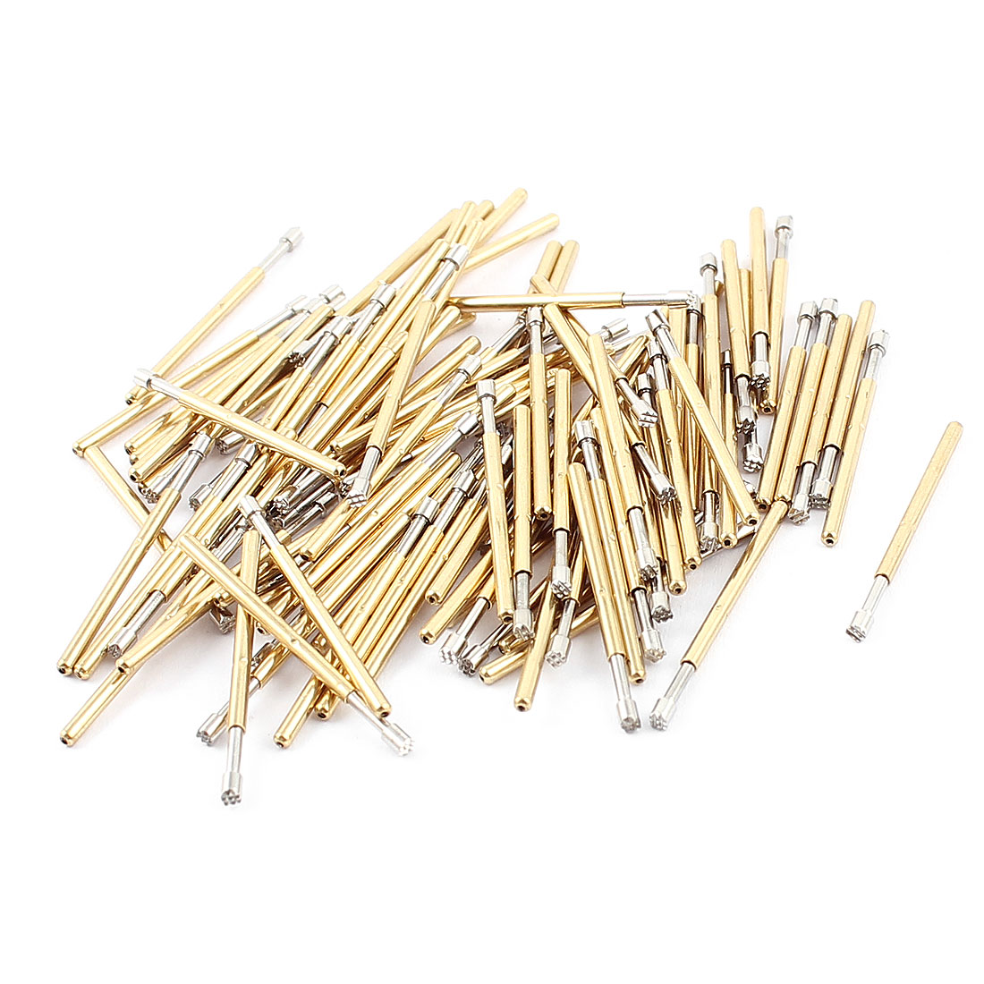 100Pcs P60H 1.5mm Dia Crown Tip Spring Test Probes Testing Pins Gold Tone 24mm Long for PCB Borad