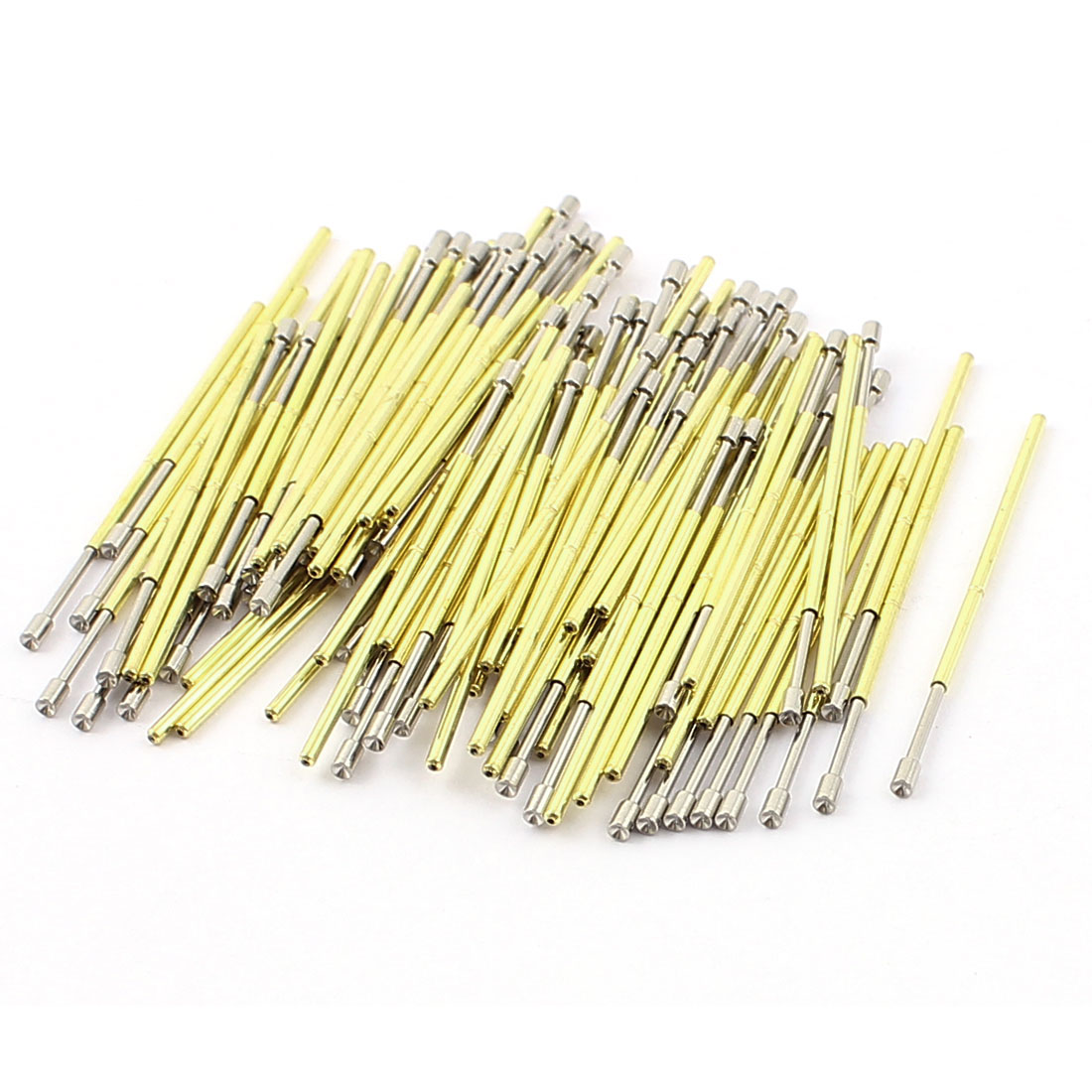 100 Pcs P75A 1.3mm Dia Concave Tip Spring Test Probes Testing Contact Pin Gold Tone 33mm Length
