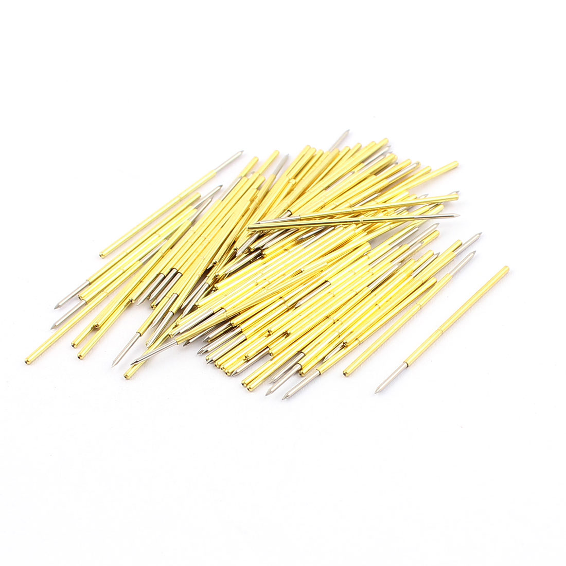100Pcs P75B 0.7mm Dia Spear Tip 32mm Long Metal Spring Test Probes Testing Pins Gold Tone