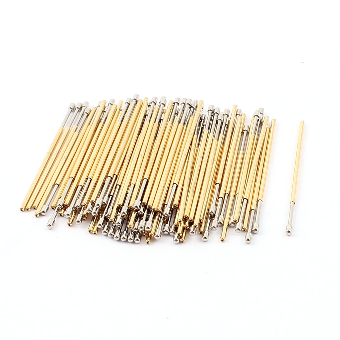 100Pcs P75D 1.3mm Dia Spherical Tip Spring Loaded Test Contact Testing Probes Pin 33mm