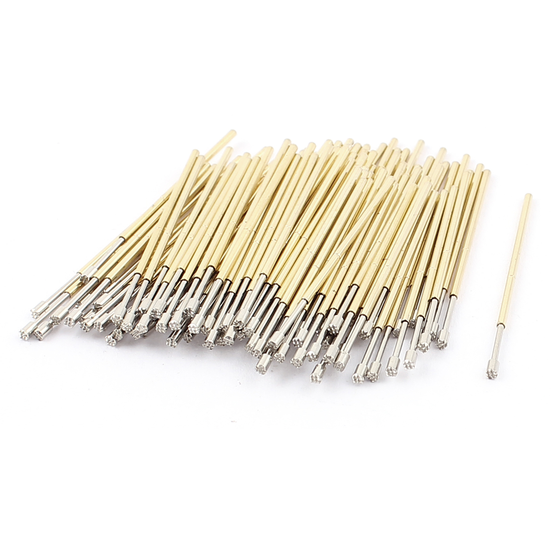 100Pcs P75H 1.3mm Dia Serrated Crown Tip Spring Test Probes Testing Contact Pins 33mm Length