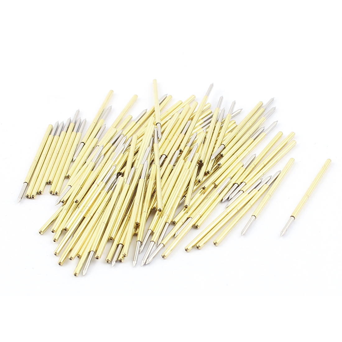 100Pcs P100-B 0.95mm Dia Spear Tip 32mm Length Metal Spring Test Probes Testing Pins Gold Tone