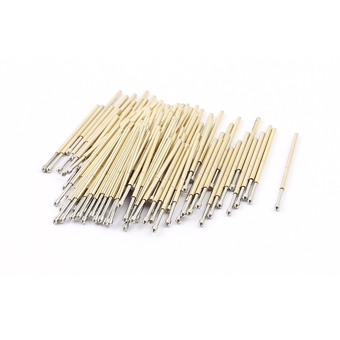100Pcs P100E 1.5mm Dia 90 Degree Convex Tip 33mm Long Spring Testing Test Probe Pin Gold Tone