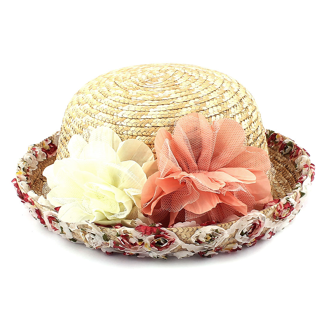 Women Beach Holiday Flower Decor Roll Up Brim Braided Straw Sun Hat Cap Beige 56cm