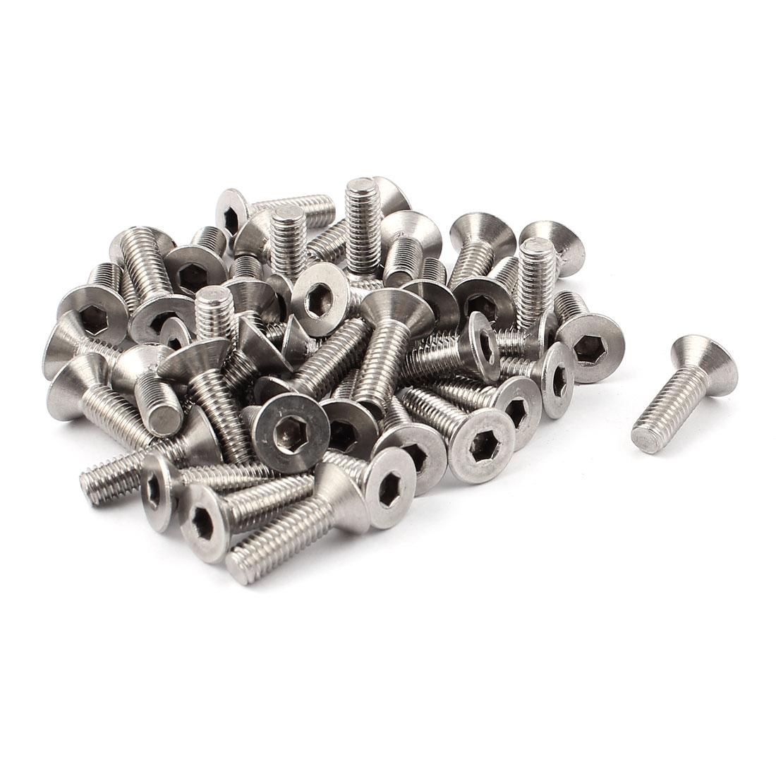 45pcs M6x15mmx20mm Hex Drive Socket Stainless Steel Countersunk Flat Head Screws Bolts Nuts Fasteners
