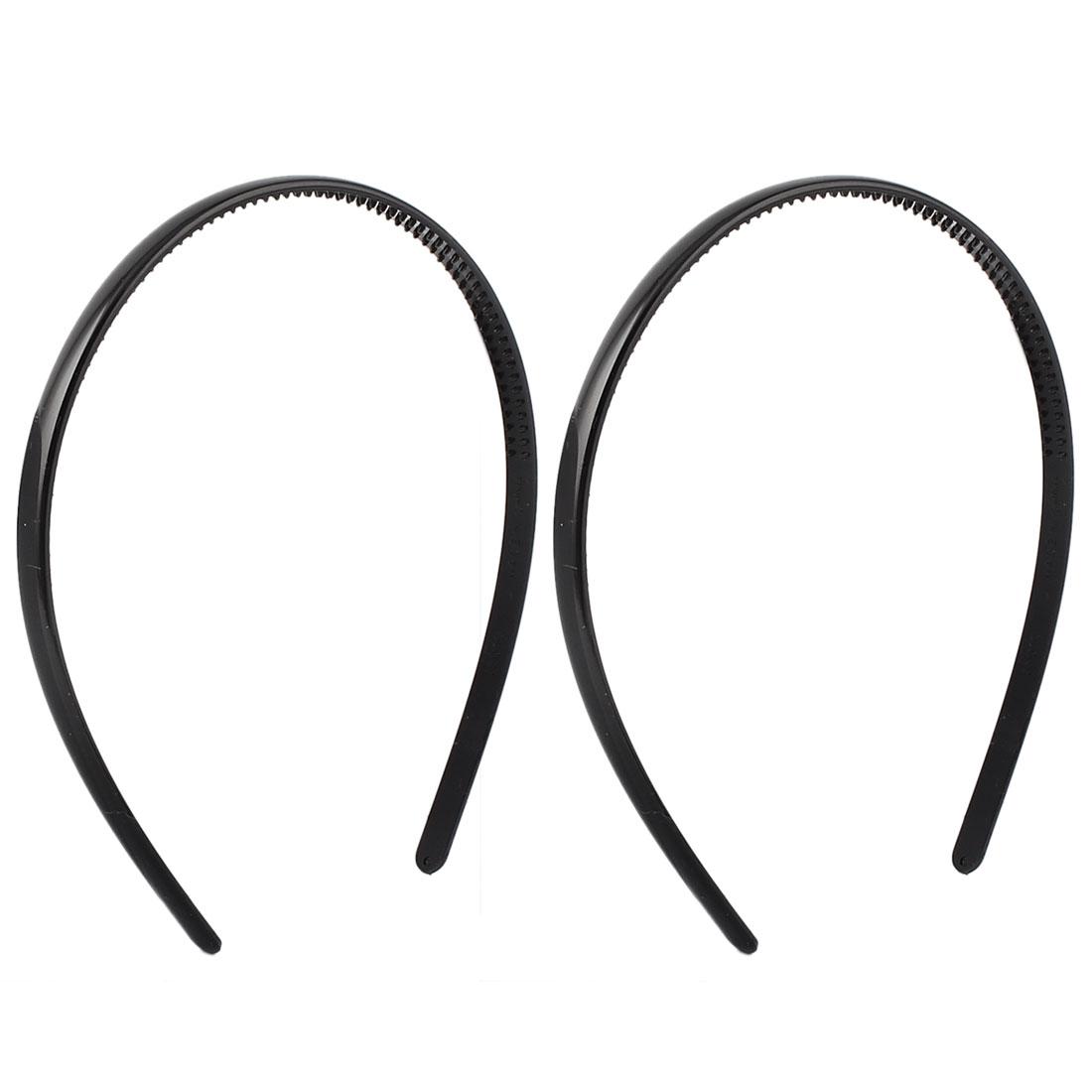 Lady Girl Plastic Tooth Waterproof Headband Hair Hoop Hairband Black 2 Pcs