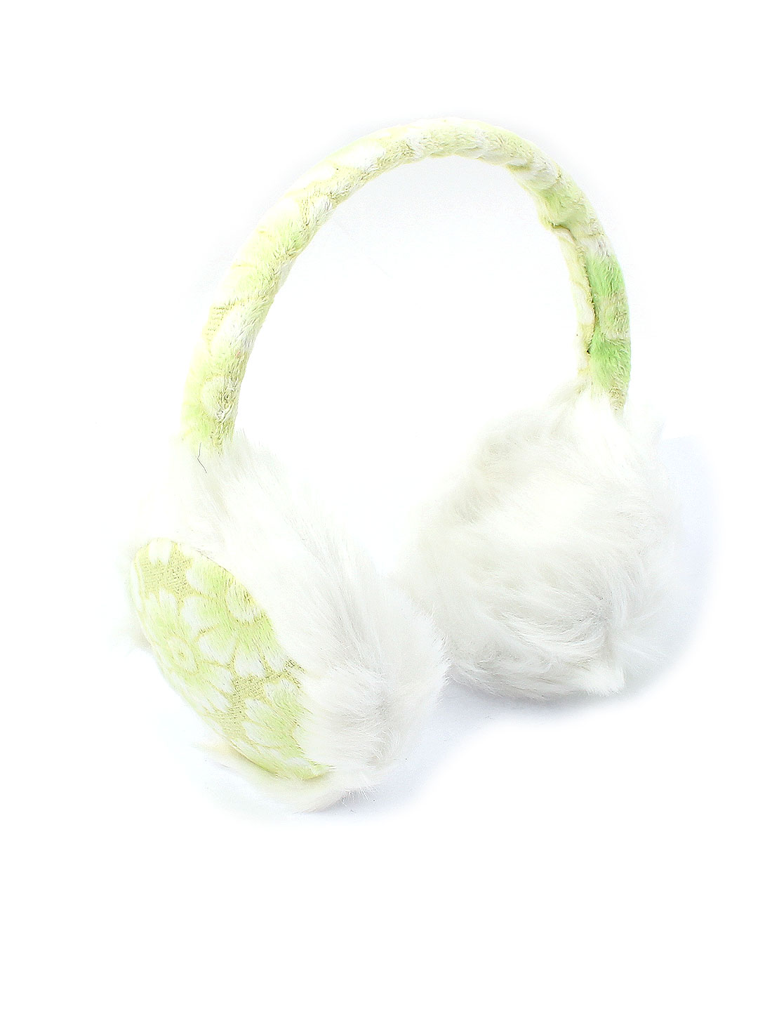 Girls Winter Floral Plush Earmuffs Ear Warmers Earlap Headband White Green