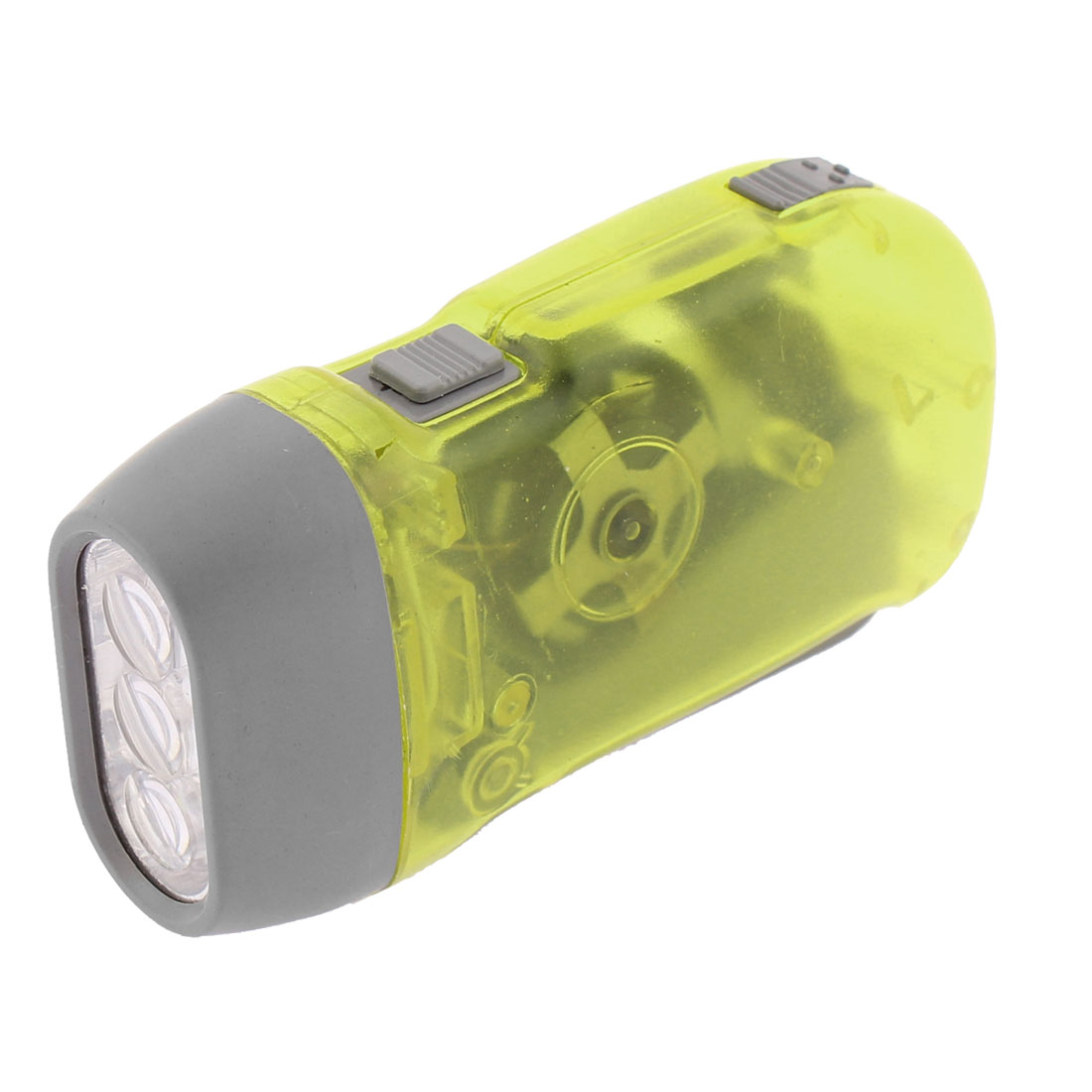 Camping No Battery Emergency Hand Pressing 3 LED Flashlight Torch Yellow Green