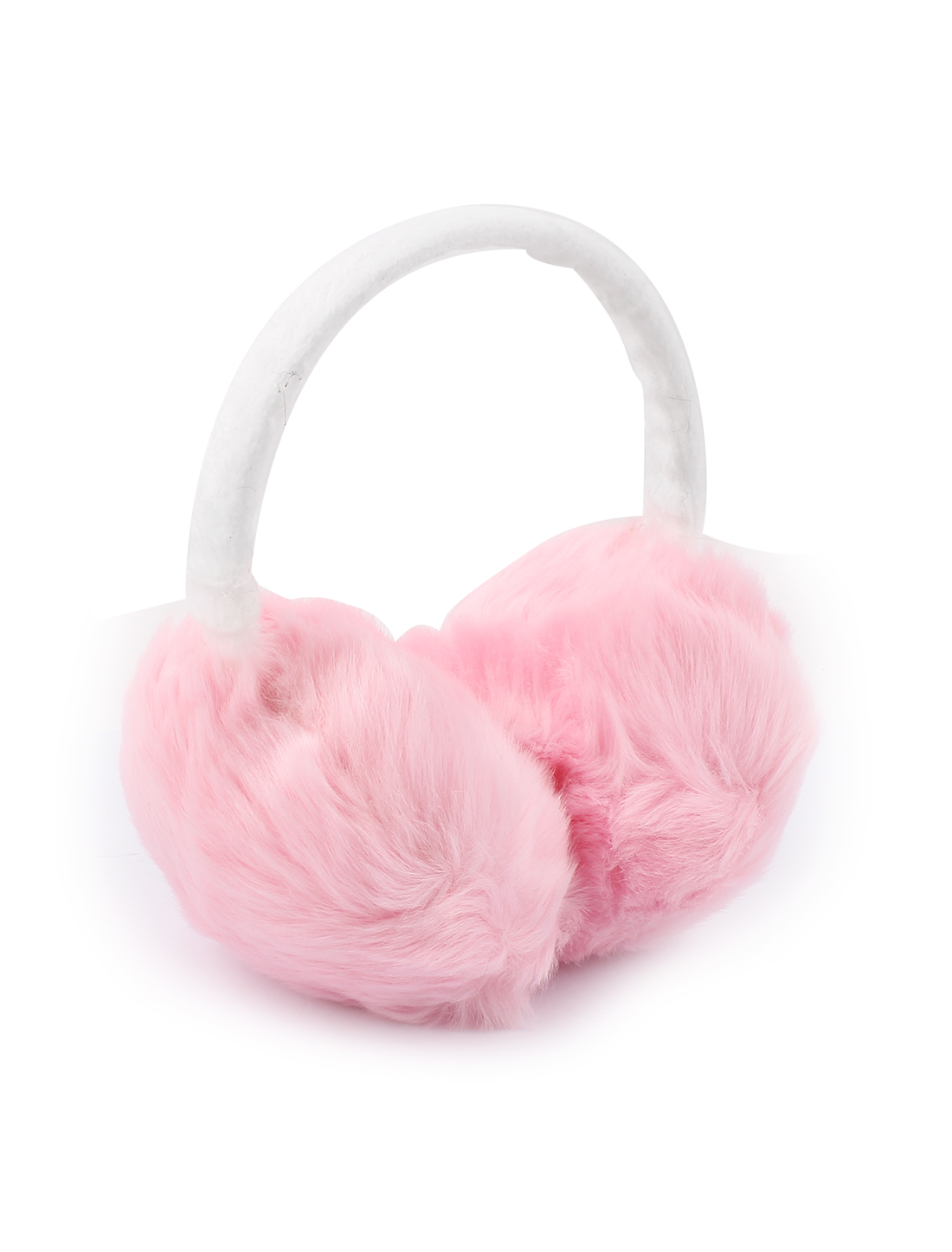Girls Lady Winter Plush Earmuffs Ear Warmers Earlap Headband White Pink