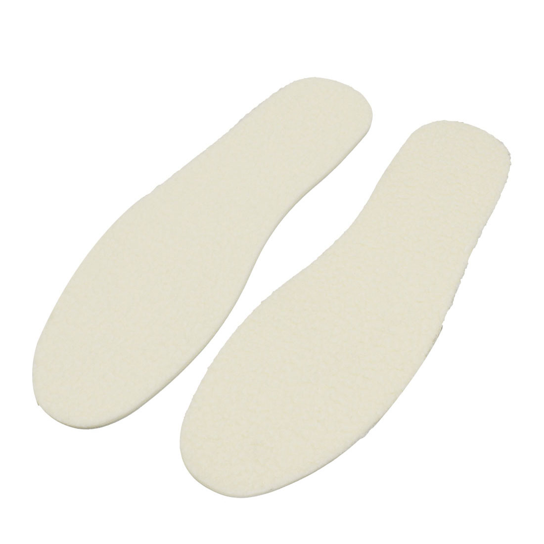 Men Winter Warm Plush Shoes Boots Insoles Insert Pad Pair Off White Size 44.5