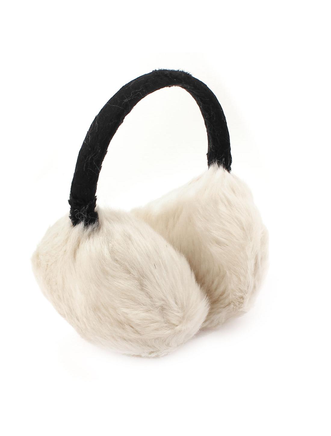Lady Winter Plush Earmuffs Ear Warmers Earlap Headband Black Off White
