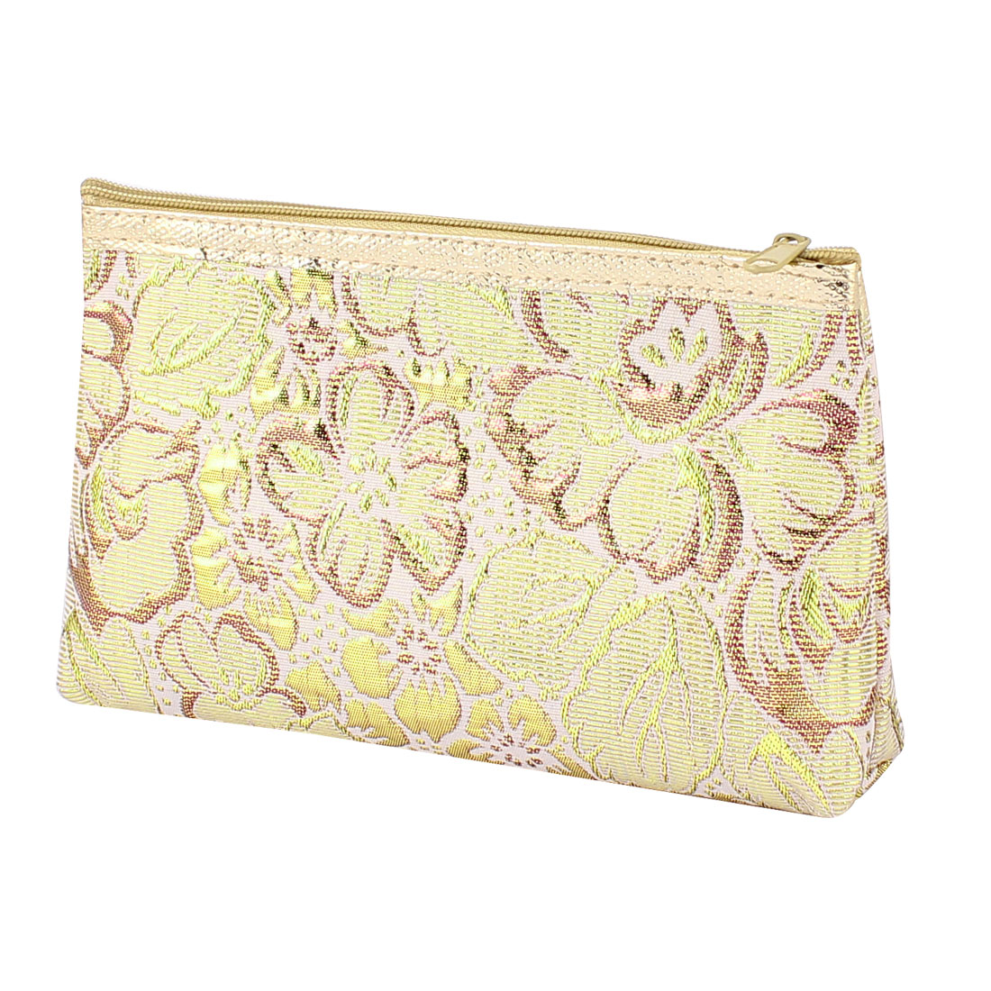 Gold Tone White Embroidery Travel Cosmetic Bag Makeup Case Toiletry Organizer