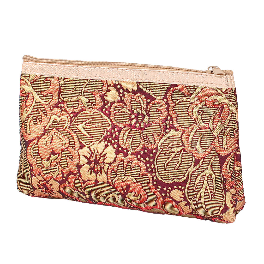 Gold Tone Red Embroidery Travel Cosmetic Bag Makeup Case Toiletry Organizer