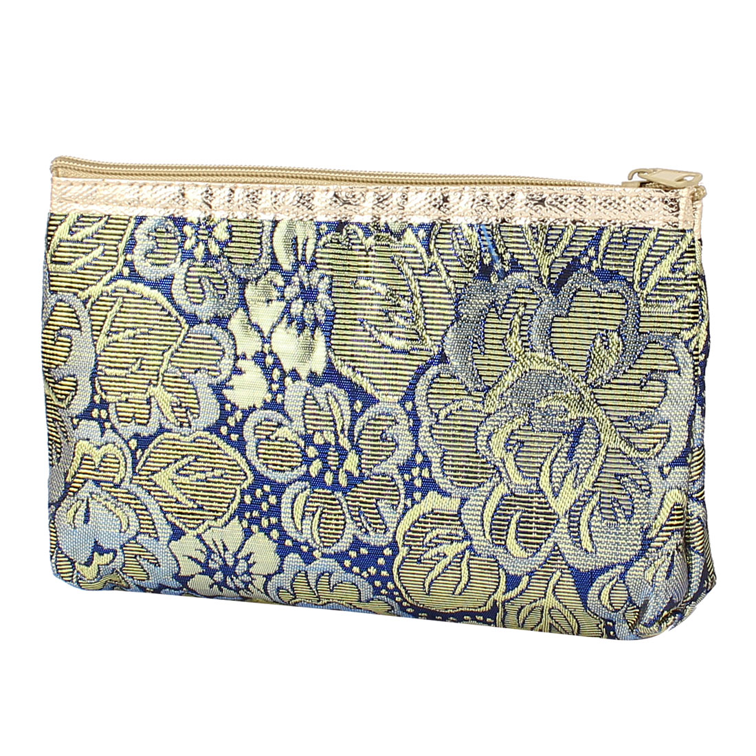 Gold Tone Blue Embroidery Travel Cosmetic Bag Makeup Case Toiletry Organizer