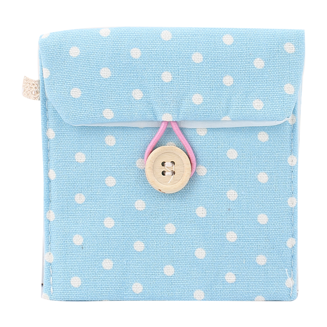 Lady Cotton Blends Dots Sanitary Pad Napkin Holder Bag Pouch Light Blue