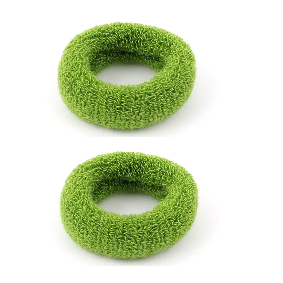 Lady Terry Stretch Ponytail Holder Hair Band Ties Rope Scrunchie Green 2 Pcs