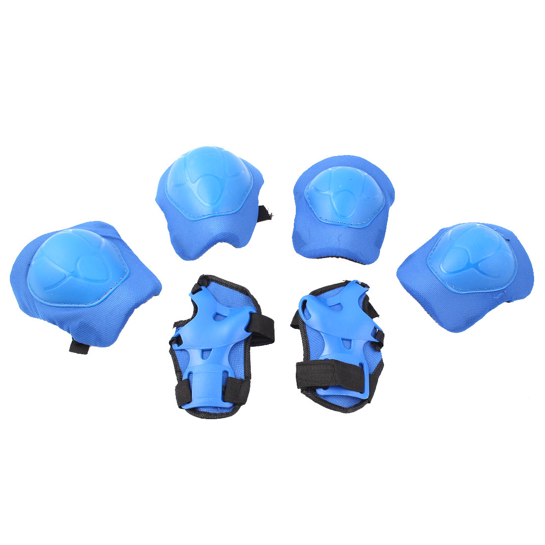 Child 6 in 1 Skating Palm Elbow Knee Support Protector Guard Set Black Blue