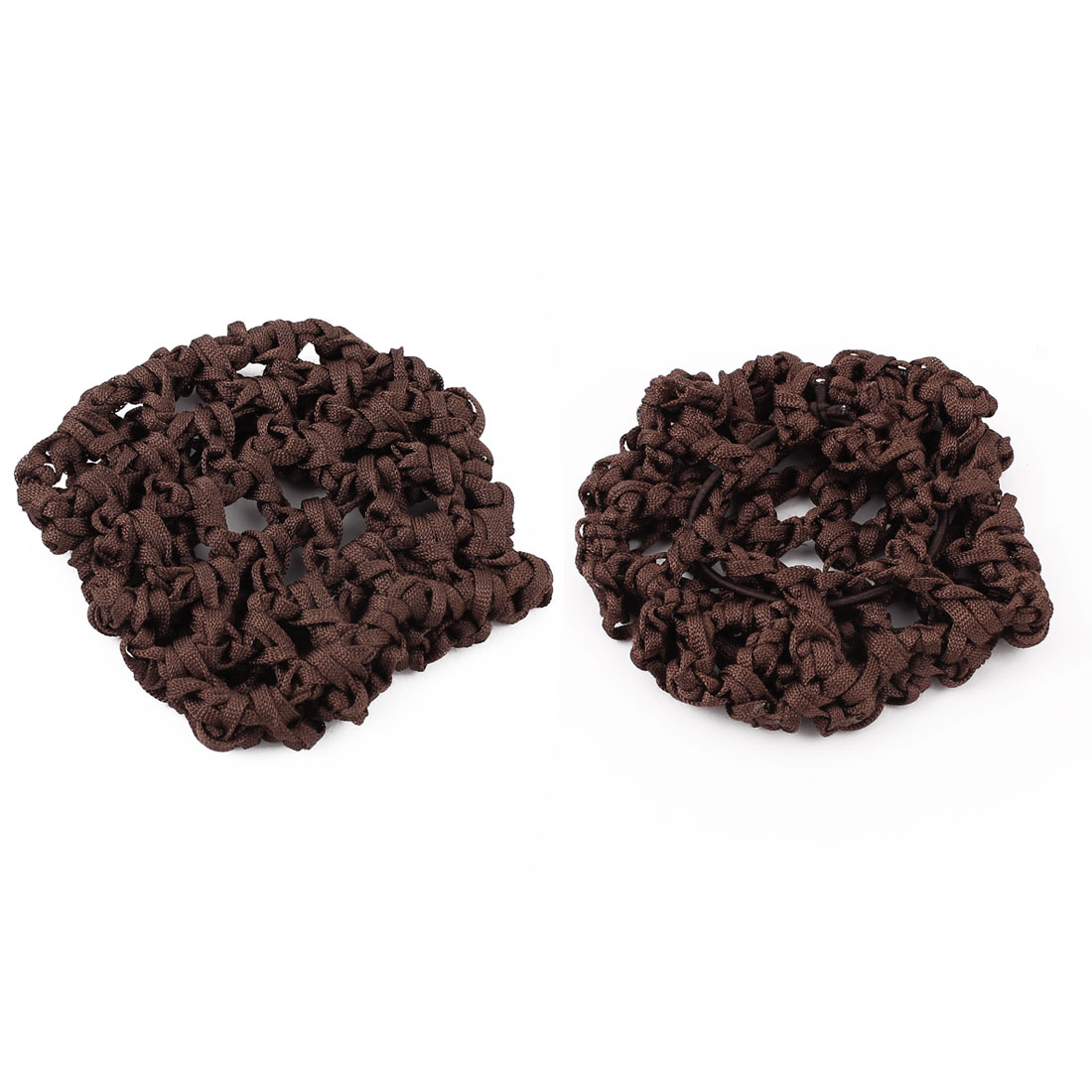 Women Elastic Band Mesh Net Bun Cover Snood Hairnets Dark Brown 2 Pcs