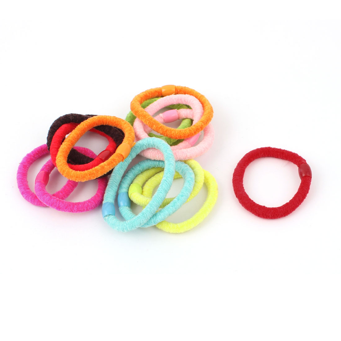 Girls Bead Decor Candy Color Elastic Ponytail Holder Hair Band Ties Rope 16 Pcs