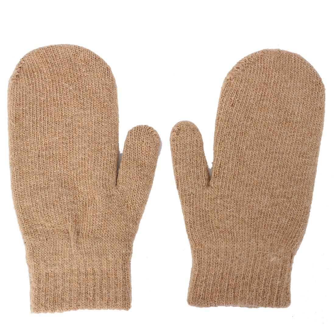Unisex Winter Wrist Warm Thermal Elastic Mitten Gloves Light Brown Pair