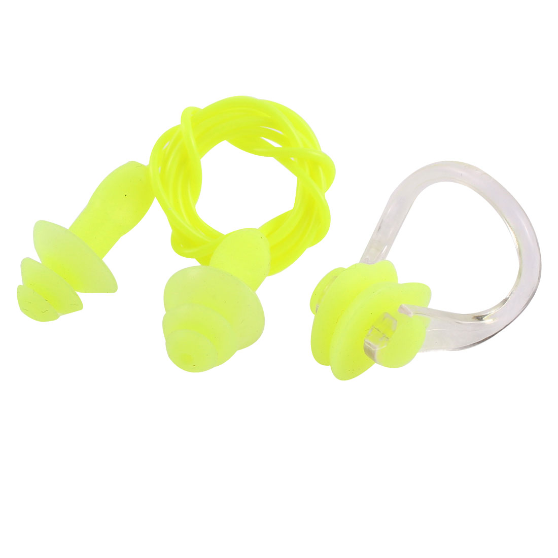 Water Sport Swimming Guard Tool Protector Earplugs Nose Clip Yellow Green Set
