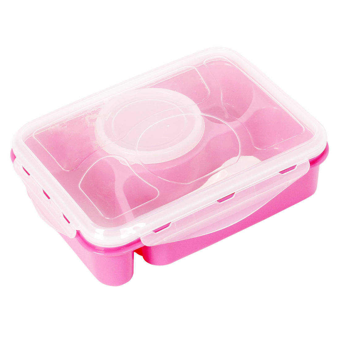 Microwave 4 Compartment Bento Lunch Food Soup Box Container Fuchsia w Spoon