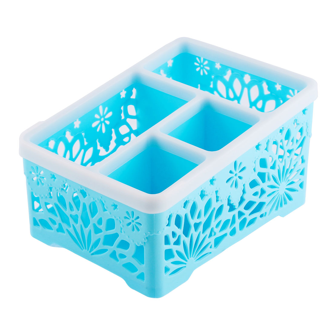 Household Hollow Out Flower Design 4 Spaces Storage Organizer Container Box Sky Blue
