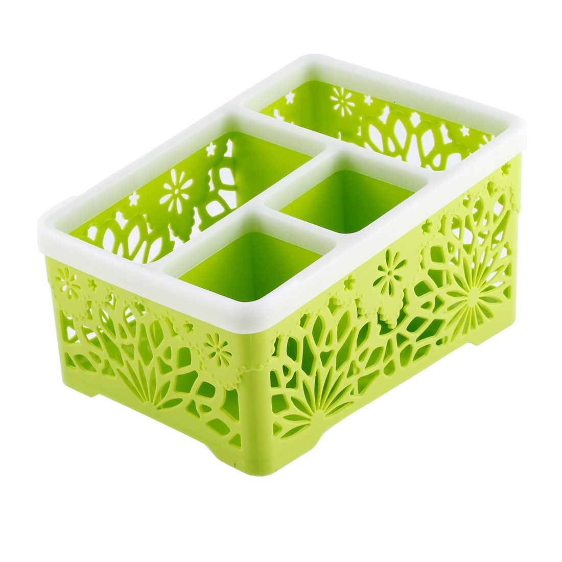 Hollow Out Flower Pattern 4 Compartments Remote Control Sundries Storage Organizer Holder Box