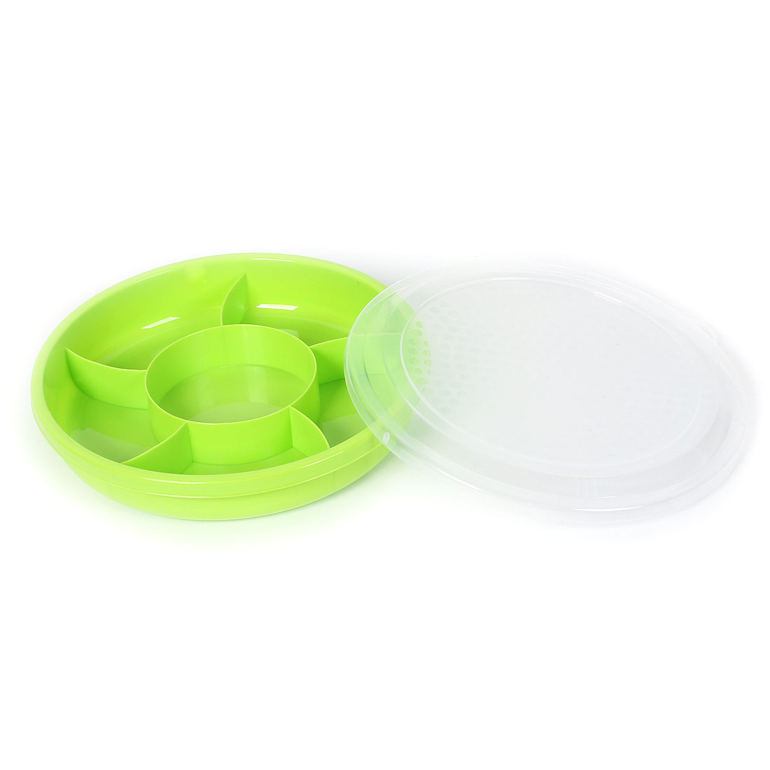 Plastic 6 Separate Compartments Sealed Candy Nut Snacks Case Box Storage Green