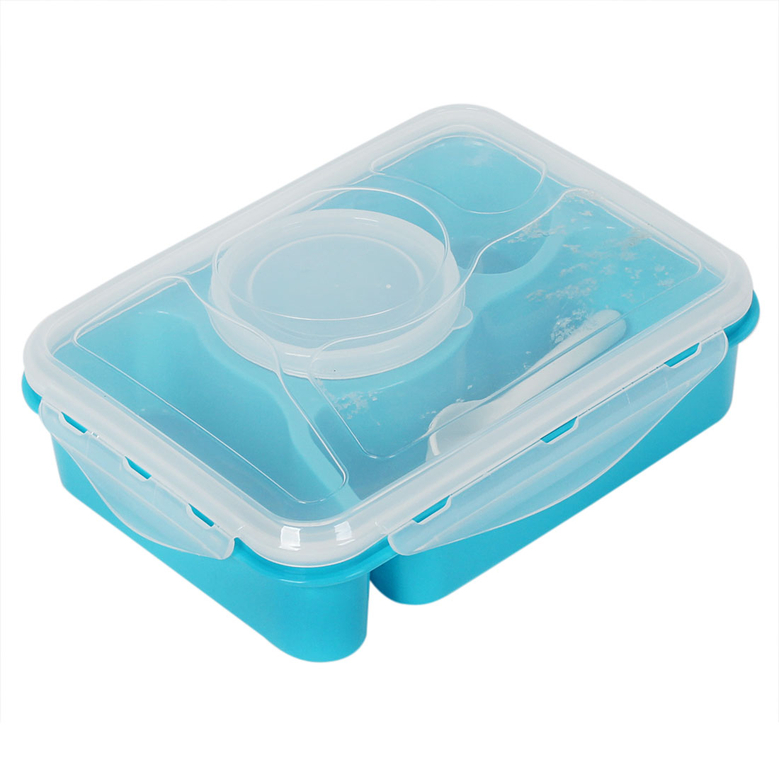 Home School Office Plastic Microwave Bento Lunch Food Soup Box Container Case w Spoon