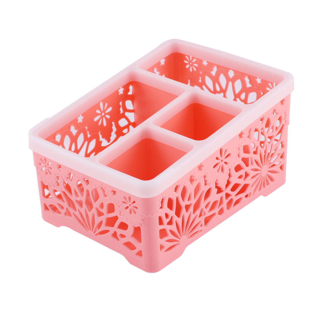 Home Office Plastic Hollow Out Flower Design 4 Compartments Storage Organizer Holder Box Pink