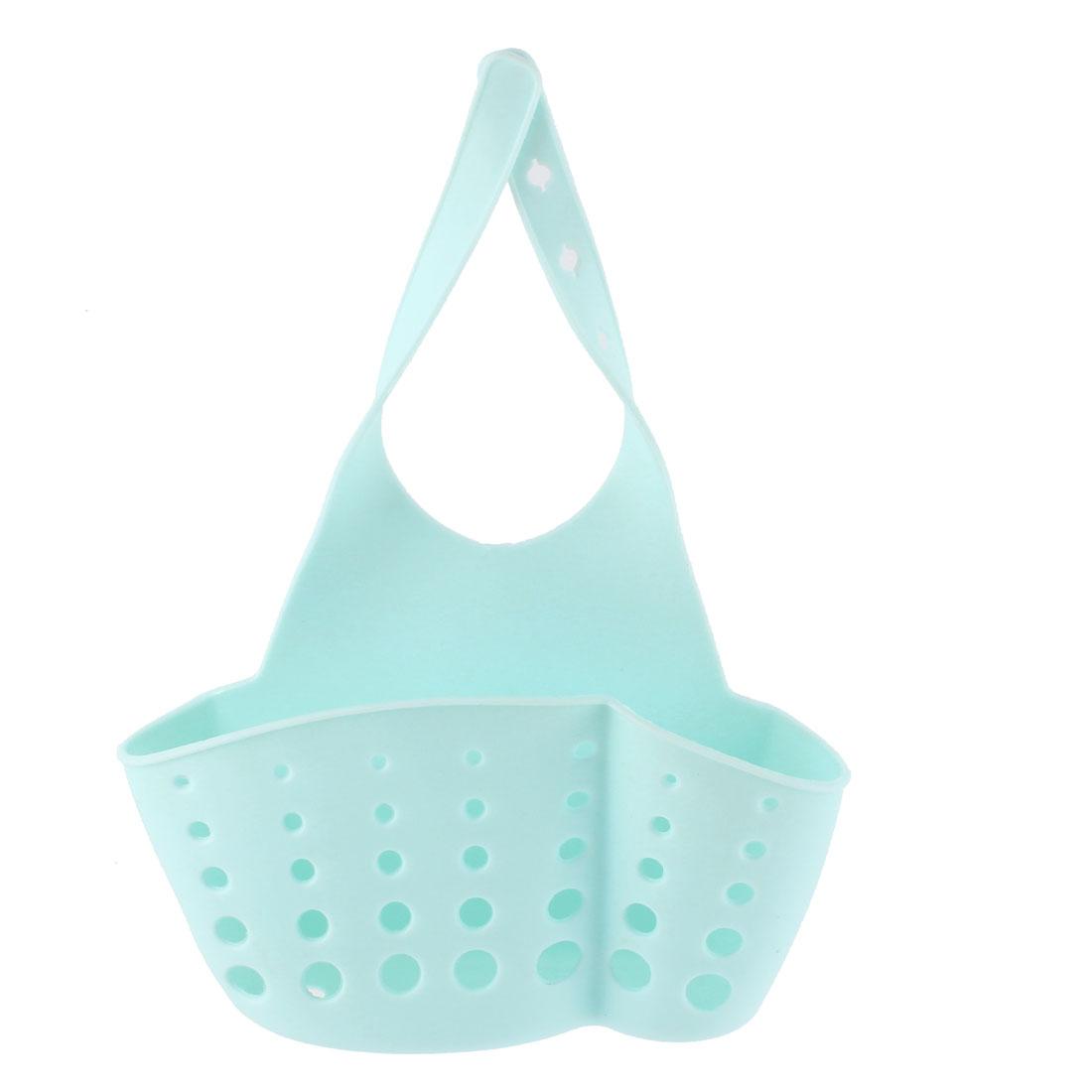 Kitchen Sink Faucet Dish Wash PVC Sponge Storage Hanger Holder Basket Aquamarine
