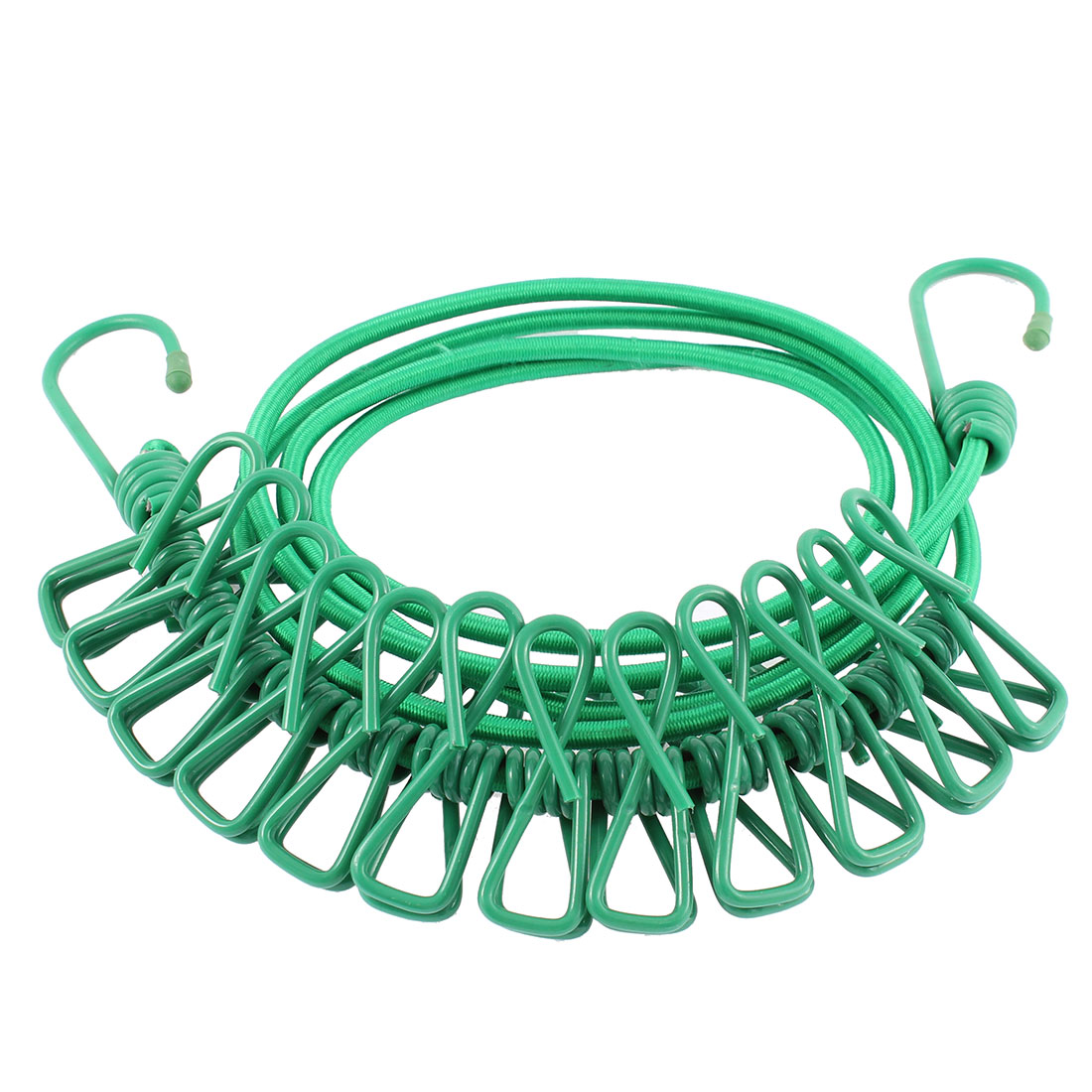 Household Travel Elastic Clothesline Rope Line String Green w 12 Clips