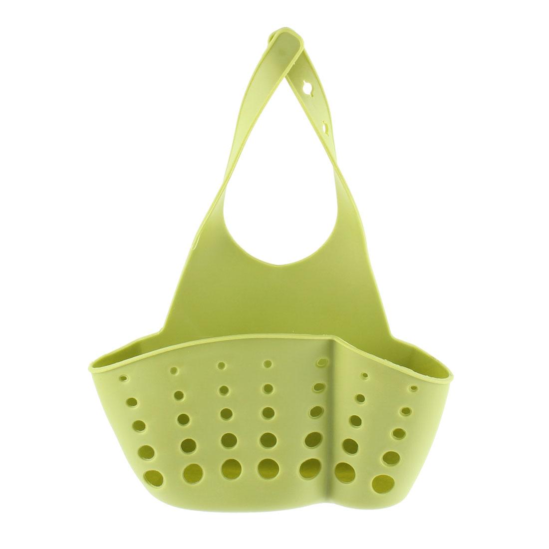 Kitchen Sink Faucet Dish Wash PVC Sponge Storage Hanger Holder Basket Yellow Green