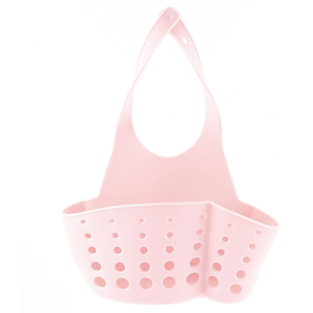 Kitchen Sink Faucet Dish Wash PVC Sponge Storage Hanger Holder Basket Pink