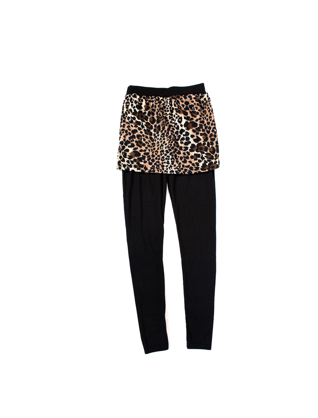 Women Elastic Waist Spliced Leggings Leopard Pattern Pantskirt Black /XS (US 0)