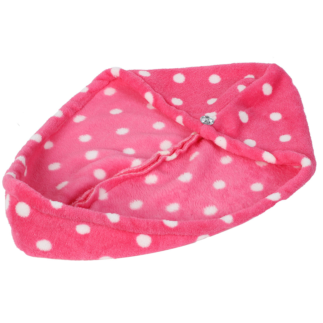 Lady Microfibre Dot Printed Loop Button Dry Towel Hair Wrap Cap Hat Fuchsia