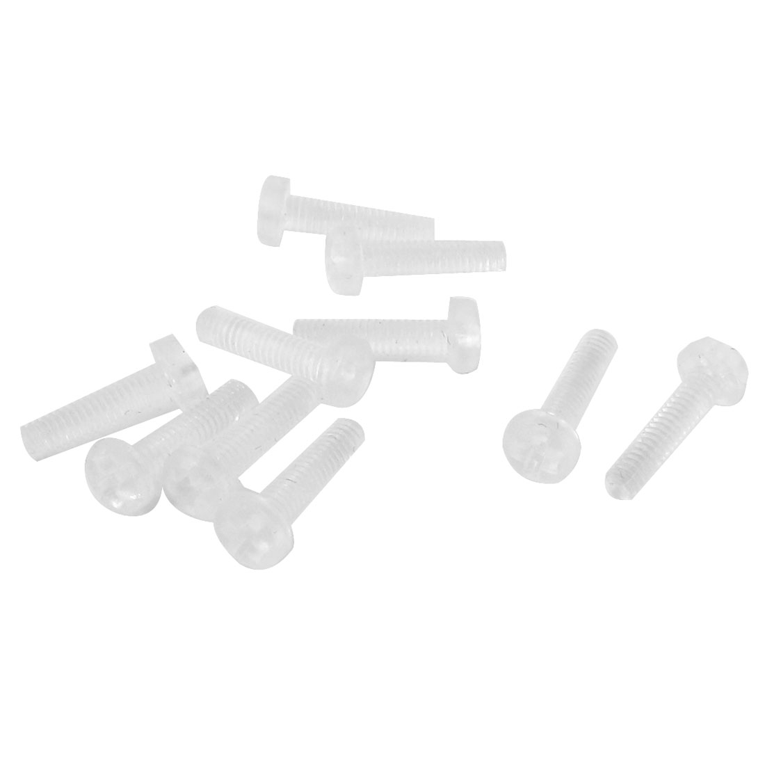 M2.5 x 10mm Plastic Fillister Head Phillips Drive Machine Screw 10pcs