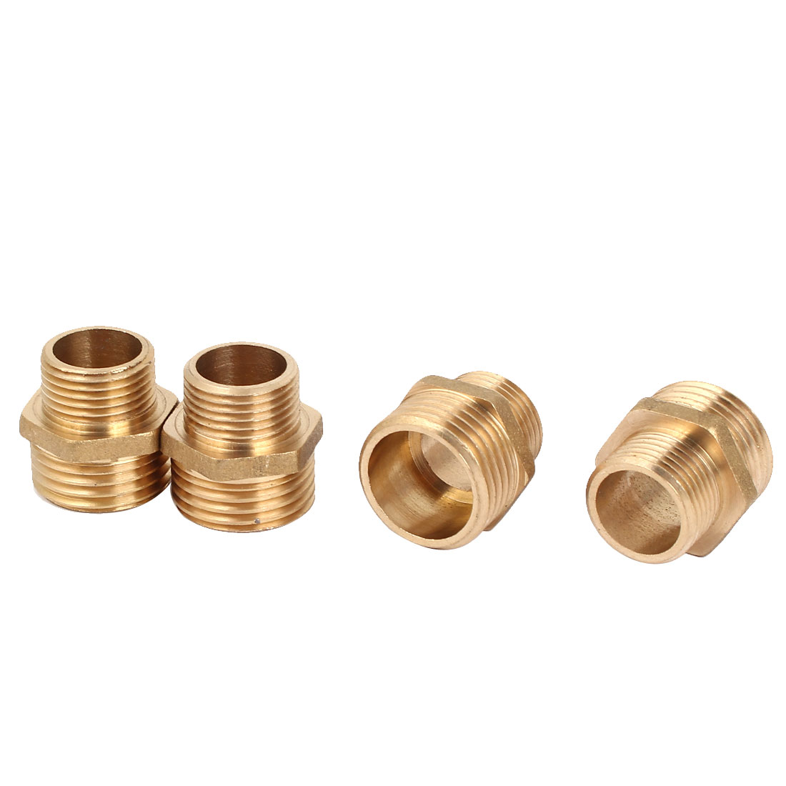 4Pcs 1/2BSP to 3/8SP Male Thread Brass Pipe Hex Nipple Fitting Quick Adapter