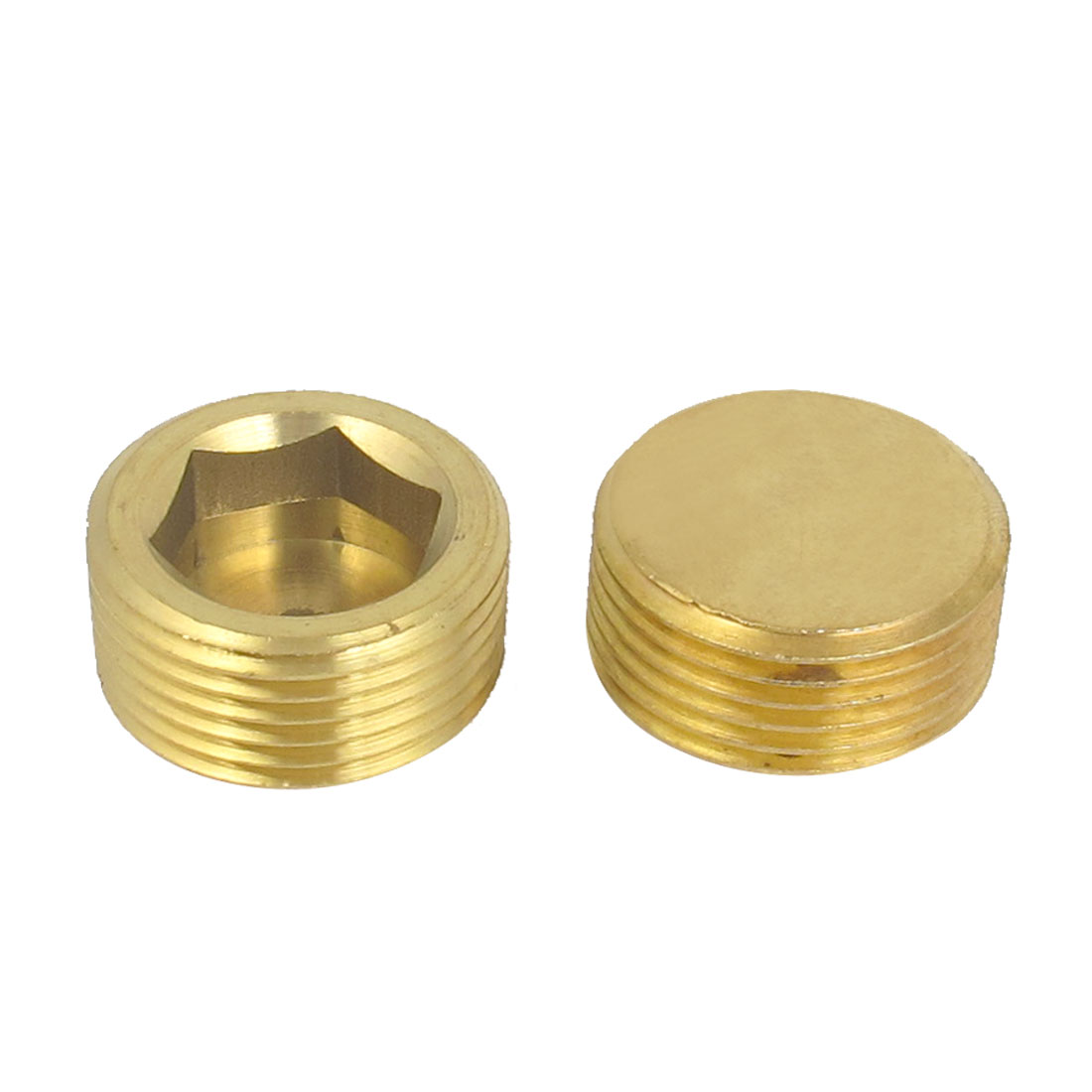 2 Pcs Air Pneumatic 1BSP Male Thread Brass Round Head Pipe Fastener
