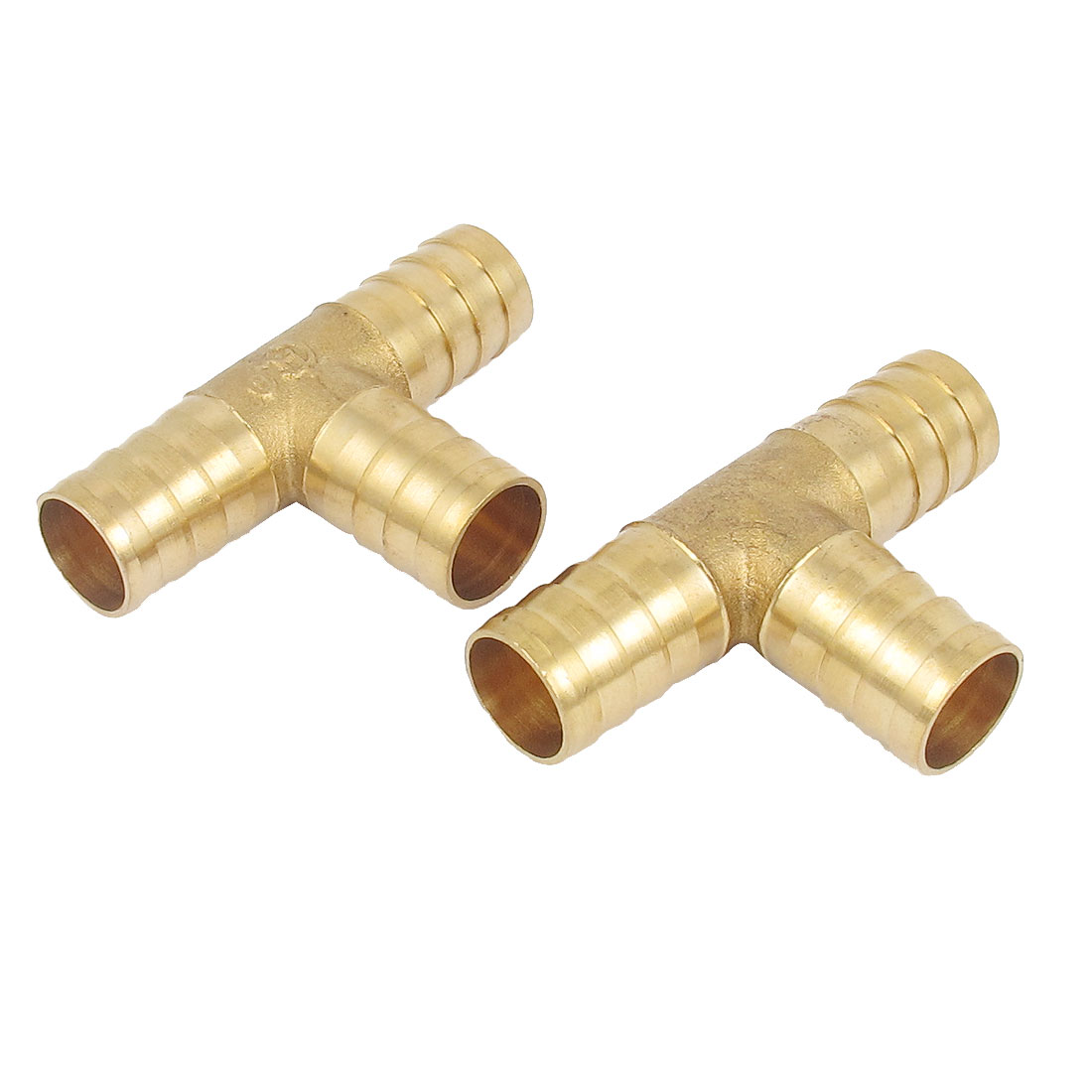 2 Pcs Brass T-Shape 3 Ways Hose Barb Fitting Adapter Coupler Connector 16mm Dia