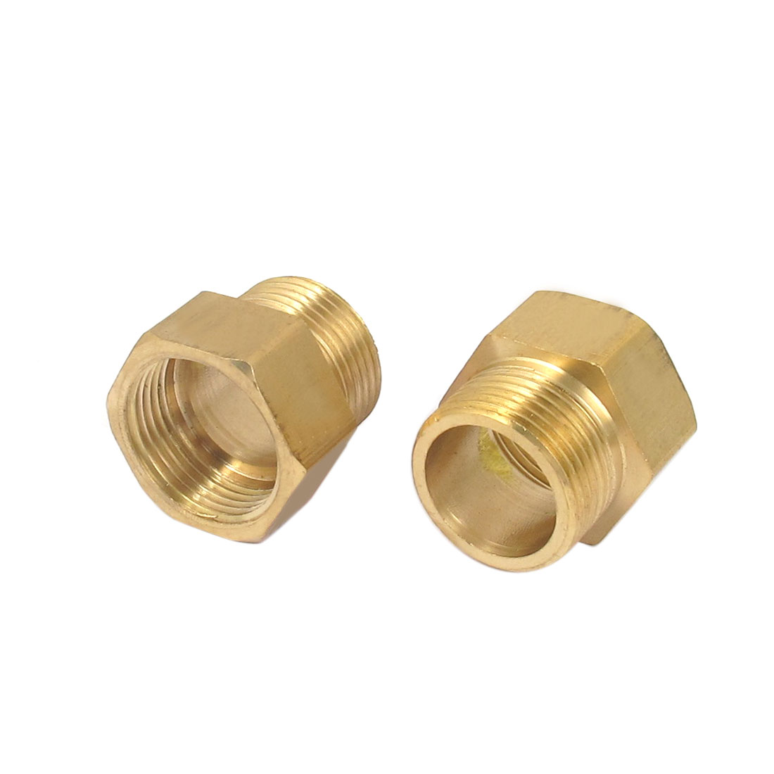 2pcs 3/4BSP to 3/4BSP M/F Threaded Hex Head Brass Air Pipe Fittings Reducer Bushing Adapter Gold Tone