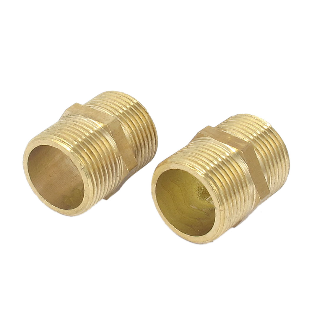2Pcs 3/4BSP to 3/4BSP Male Thread Brass Pipe Hex Nipple Fitting Quick Adapter
