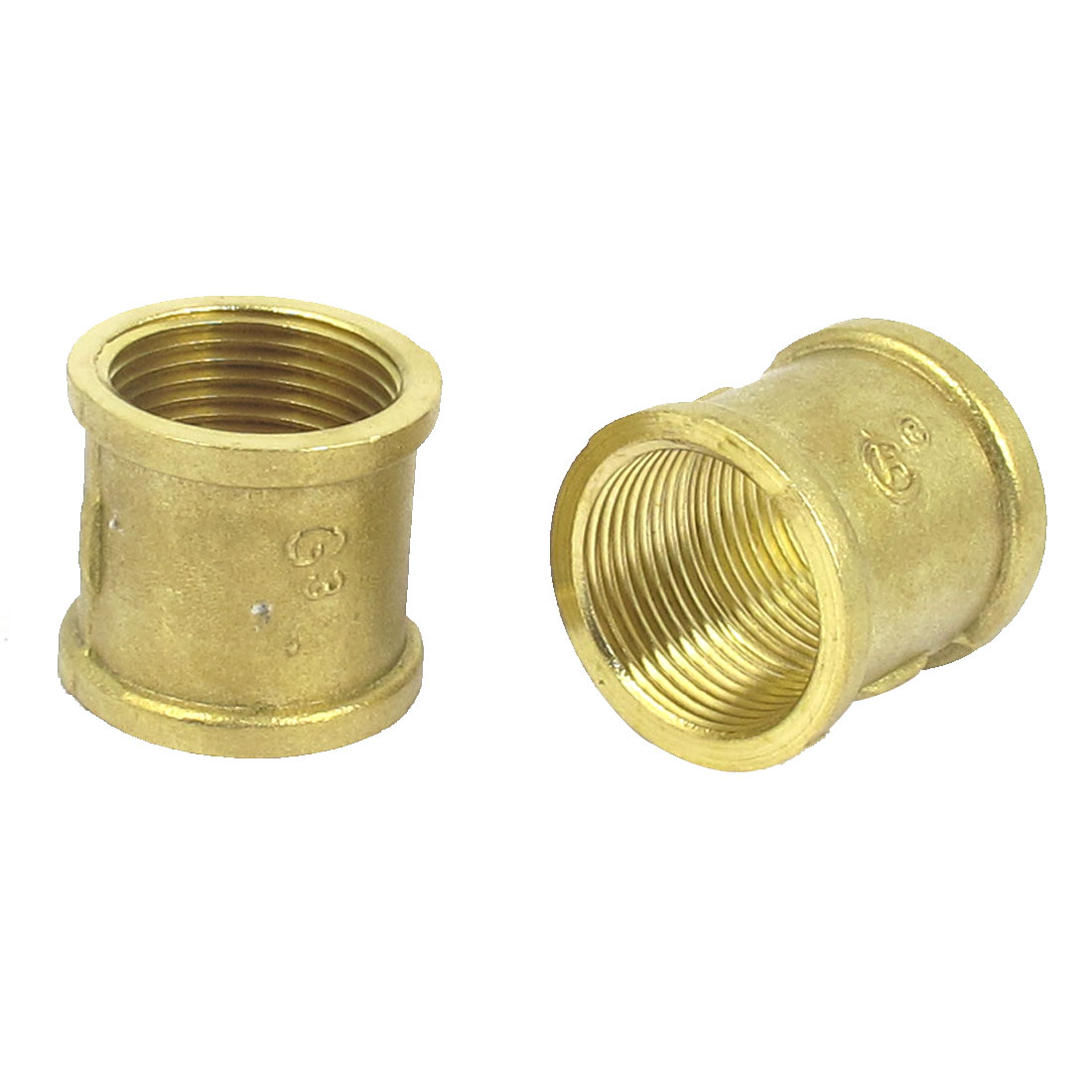 3/4BSP Female Thread Brass Water Pipe Coupling Fitting Connector 2pcs Gold Tone