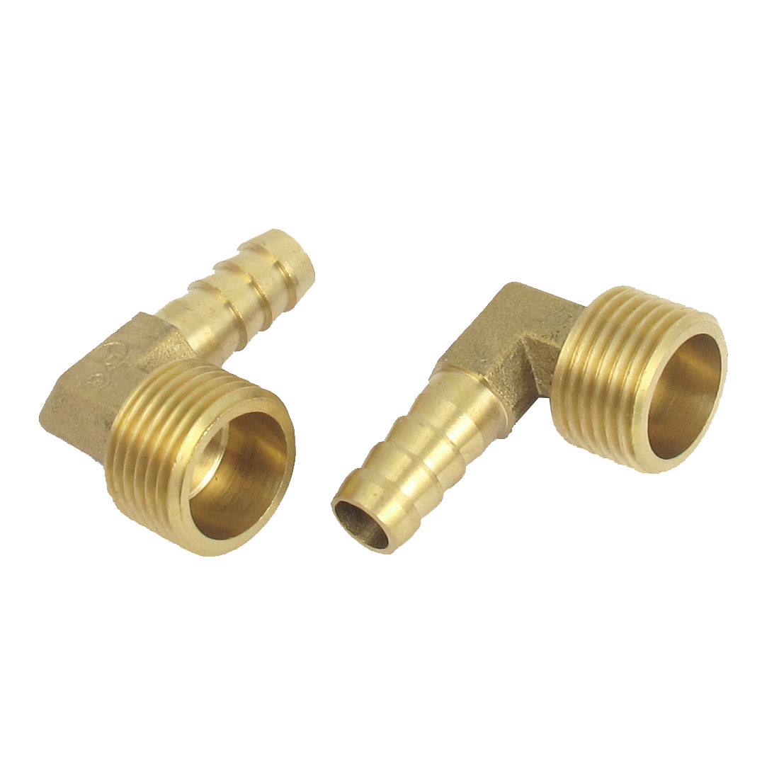 1/2BSP Thread 10mm Tube Dia 90 Degree Brass Hose Barb Coupler Connector 2pcs