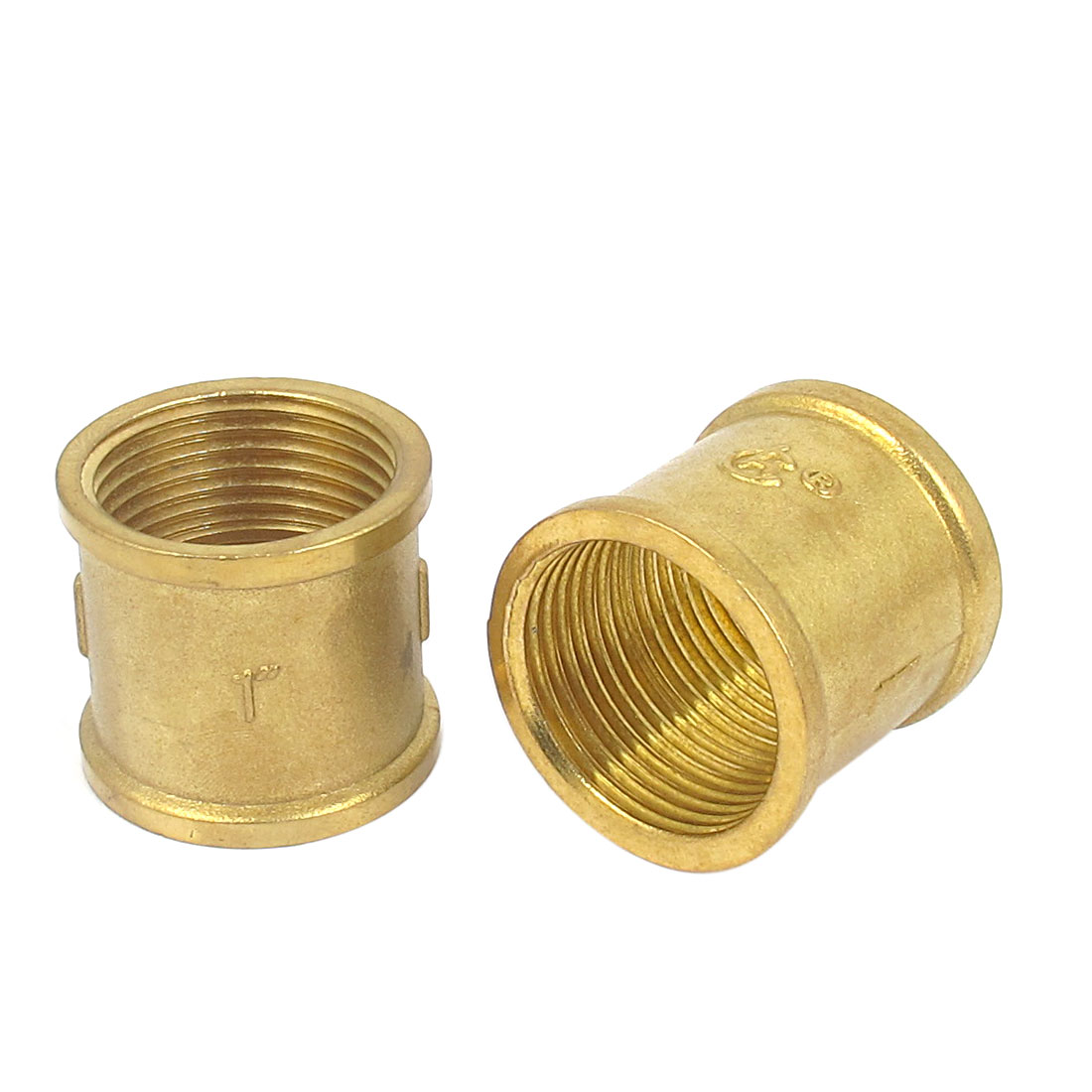 1BSP Female Thread Brass Water Pipe Coupling Fitting Connector Coupler 2pcs