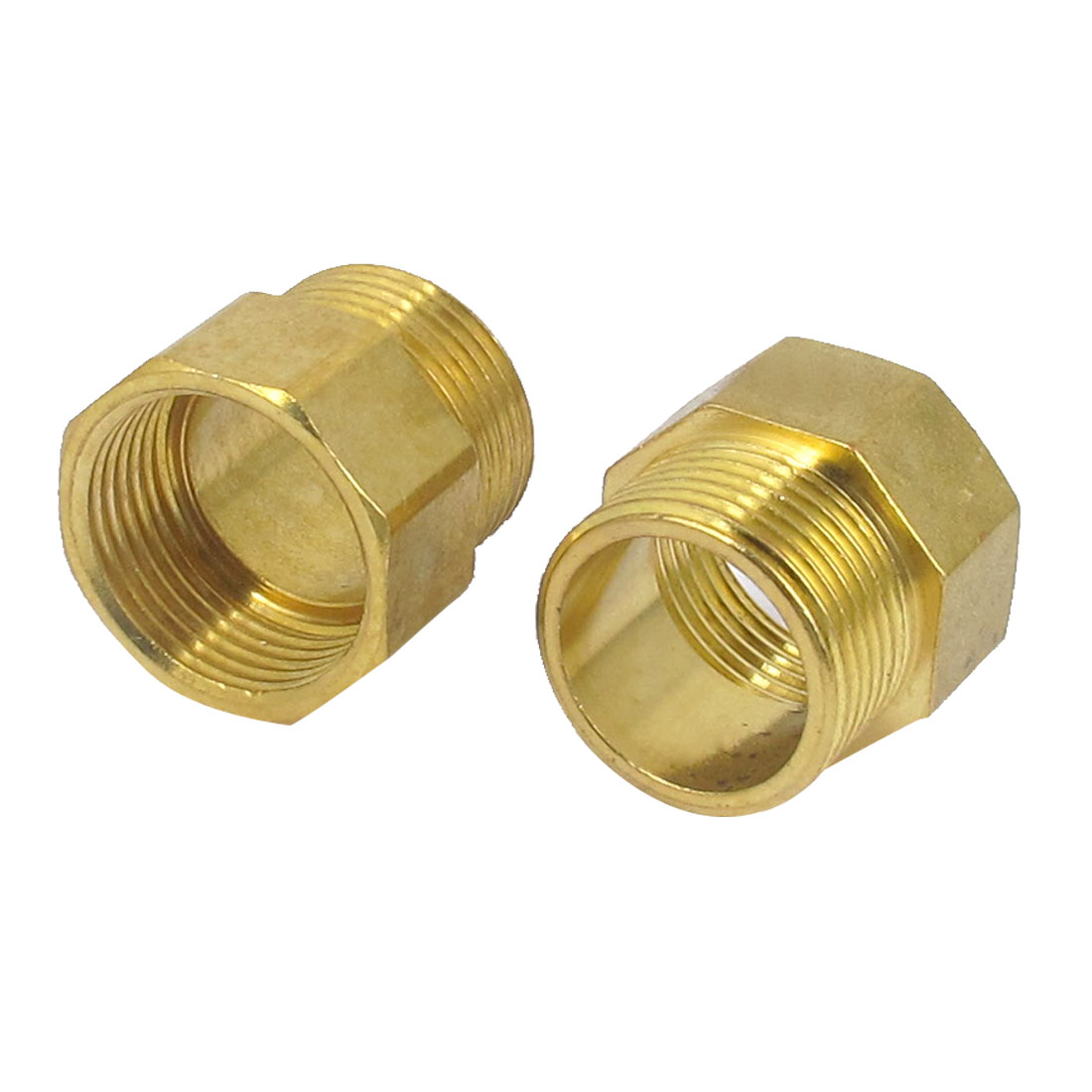 2pcs 1BSP to 1BSP M/F Threaded Brass Air Pipe Fittings Reducer Bushing Adapter Gold Tone